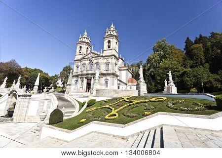 BRAGA, PORTUGAL - September 22, 2015: The neoclassical Basilica of Bom Jesus (Good Jesus) on September 22, 2015 in Braga, Portugal