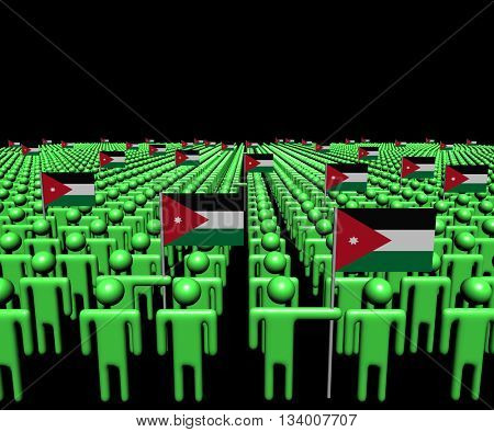 Crowd of abstract people with many Jordanian flags 3d illustration