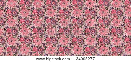 Traditional Vintage Spanish floral Brocade pattern in mauve and sea foam green