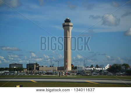 MIAMI, FLORIDA - JUNE 1, 2016: Air Traffic Control Tower at Miami International Airport.