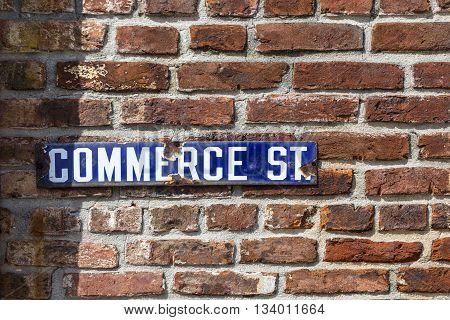 Old Enamel Streetsign Commerce Road