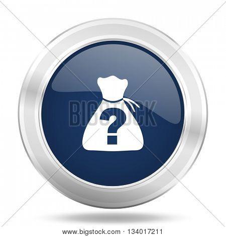 riddle icon, dark blue round metallic internet button, web and mobile app illustration