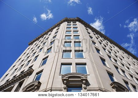 low angle view of old office building