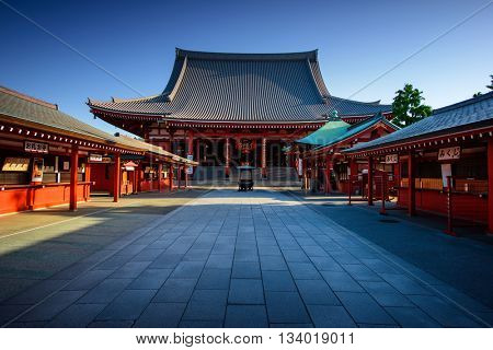 Tokyo City - Sensoji-ji Temple - Asakusa district, Japan, Asia. Tokyo historic architecture. Tokyo City center. Tokyo historic center. Tokyo temple.