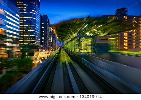 Subway Motion blur of a city from inside, monorail in Tokyo. Tokyo motion. Tokyo City motion blurred. Tokyo background. Tokyo rail. Tokyo Japan Asia.