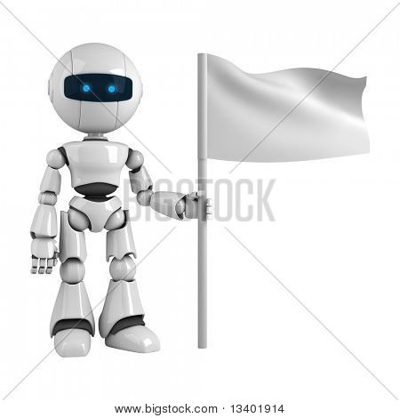 Funny robot stay with flag