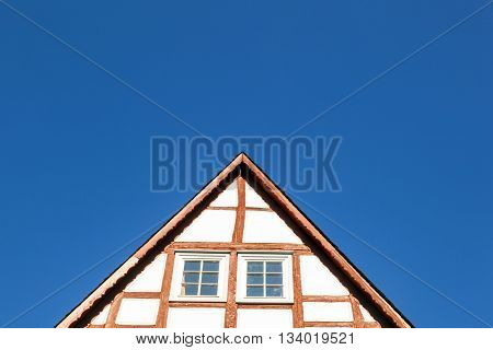 beautiful half timbered gable of house in Frankfurt Hoechst