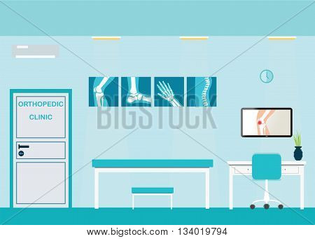Orthopedic clinics and diagnostic centers with the skeletal spinal bone structure of Human Spine and hospital bed medical health care anatomy vector illustration.