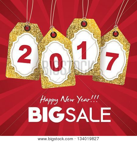 2017 new year sale tags with gold glitter texture.