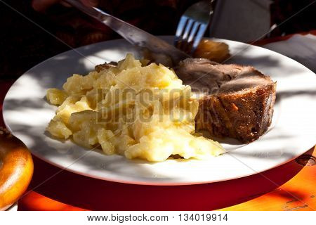 Typical Bavarian Food In The Beergarden In Cloister Of Andechs