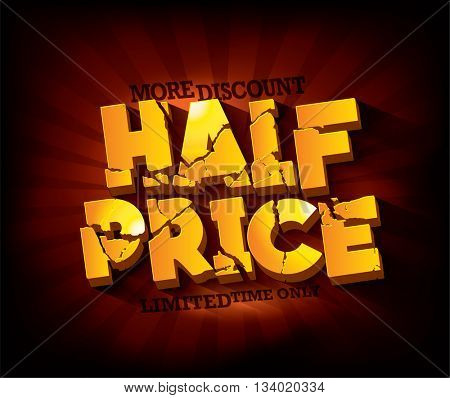Half Price Sale typographic design with gold broken text against deep red rays backdrop. sale layout design. Vector illustration