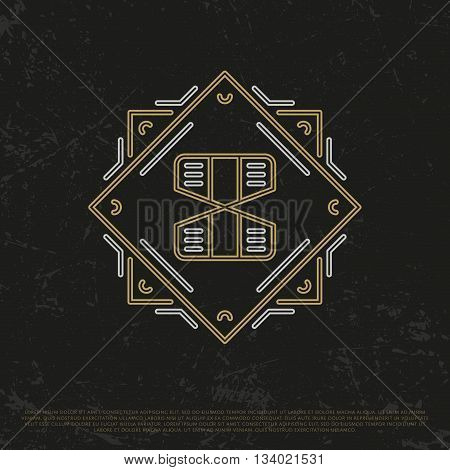 Vector Gold Number 8. Sign Eight. Eighth monogram