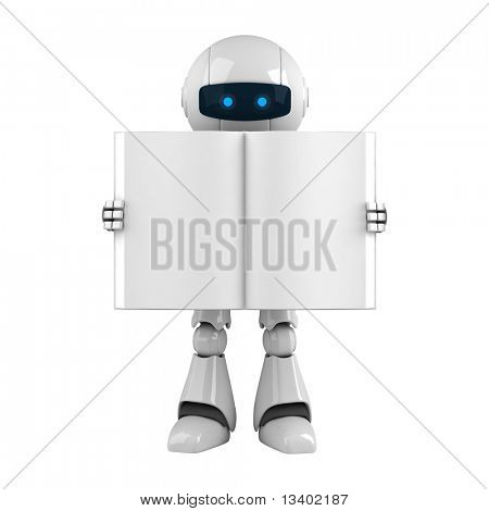 Funny robot stay with blank book