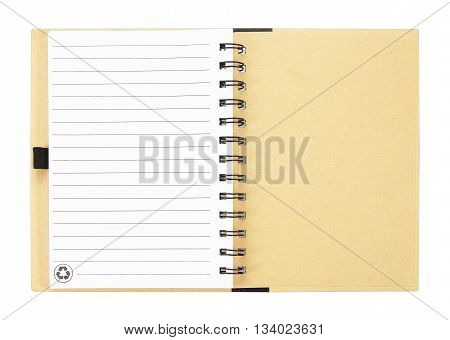 Open notebook with white lined pages isolated on white background.