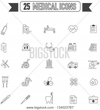 Flat line silhouette medical physicians and hospital tool equipment sign and symbol icon collection set create by vector
