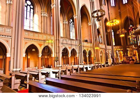 WIESBADEN, GERMANY - JUNE 1, 2011: inside the famous Markt Kirche in Wiesbaden a brick building in neo-Gothic style