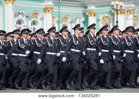 SAINT PETERSBURG, RUSSIA - MAY 05, 2015: Cadets the academy on parade rehearsal in honor of Victory Day