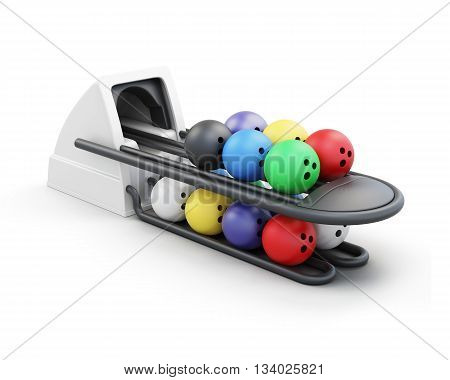 Bowling ball return system isolated on a white background. 3d render image.