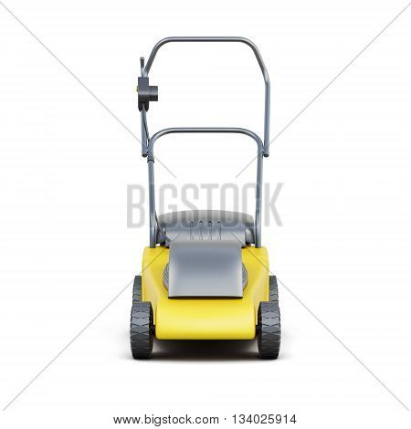 Frontal view of a lawn mower isolated on a white background. Yellow lawn mower. Electric lawn mower. 3d rendering.