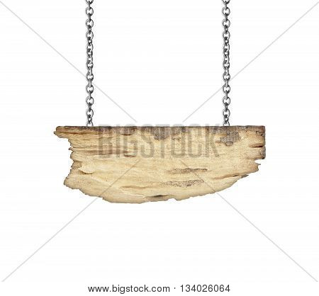 Old wooden sign hanging on a chain isolated on white