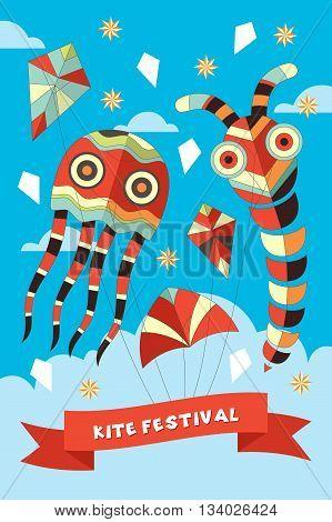 A vector illustration of kite festival poster design