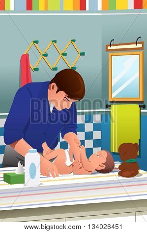 A vector illustration of father changing his child diaper in bathroom
