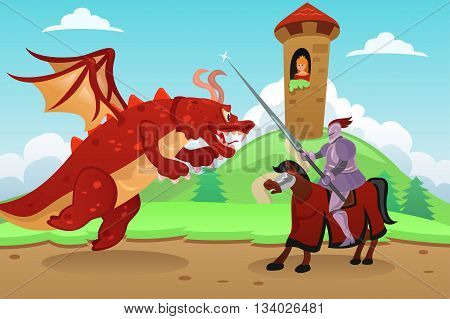 A vector illustration of knight fighting a dragon to save princess