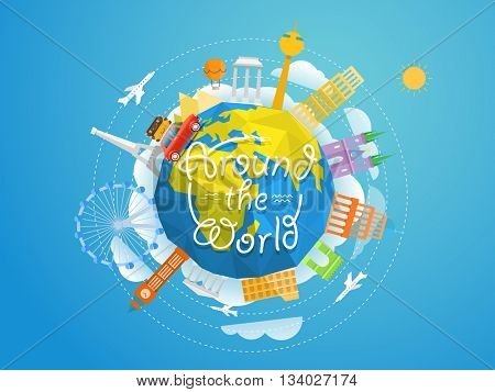 World famous signts abstract silhouettes collection. Travel concept vector 