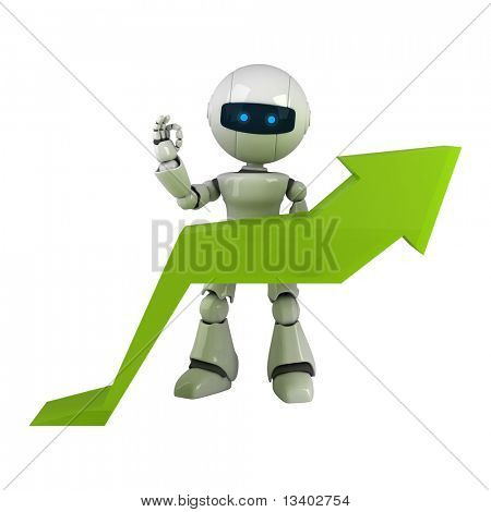 Funny white robot stay with graph arrow
