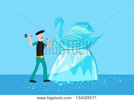 An artist sculpts a swan form out of ice or crystal material. Editable Clip Art.