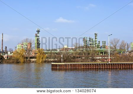 Old Chemical Plant At River Main In Frankfurt