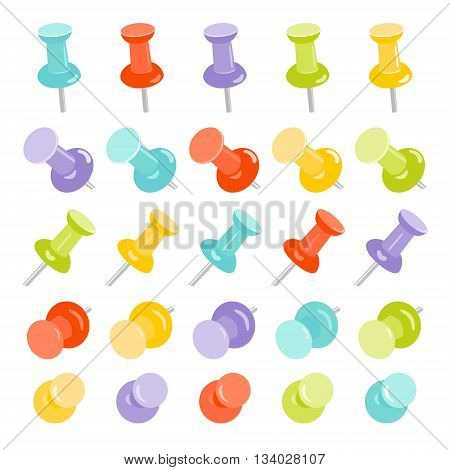 Realistic set of push pins in different colors on white background. Pins stationery products. Thumbtacks. Top view. Vector illustration.