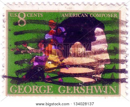 Usa - Circa 1973: A Stamp Printed In The Usa Shows George Gershwin, American Composer And Pianist, A