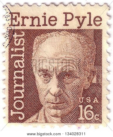 United States Of America - Circa 1971: A Stamp Printed In The Usa Shows Ernest Taylor Pyle, Journali