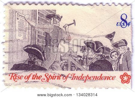 Usa - Circa 1973: A Post Stamp Printed In The Usa Shows Posting A Broadside, The Series