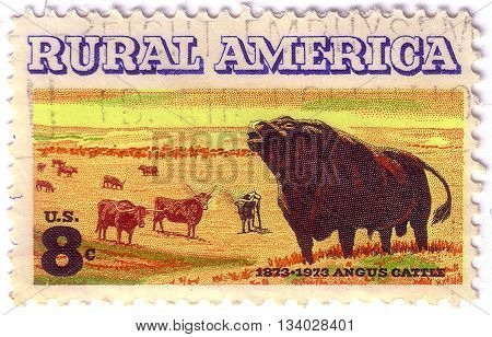 UNITED STATES OF AMERICA - CIRCA 1973: A stamp printed in USA shows angus cattle in reference rural america circa 1973