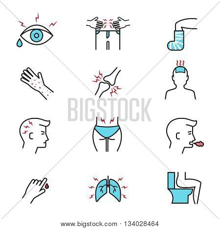 Illness and diseases symptoms vector outline icons with flat elements. Diagnosis symptom and unhealthy sickness influenza, symptom of diseases illustration