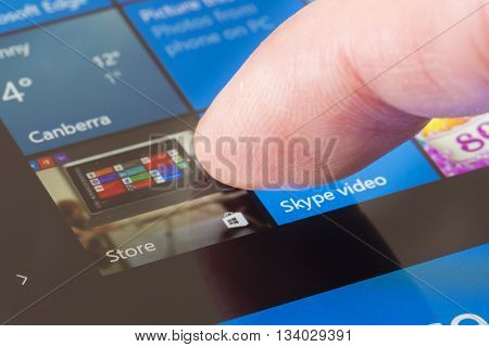 Melbourne, Australia - Jun 13, 2016: Clicking the Windows Store icon on Surface Pro 4. It is an app store for Microsoft Windows, allowing users to download apps, , games, music, movies and TV shows.