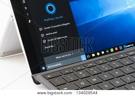 Melbourne, Australia - Jun 13, 2016: Using Cortana on Surface Pro 4. It is an intelligent personal assistant created by Microsoft for Windows 10.