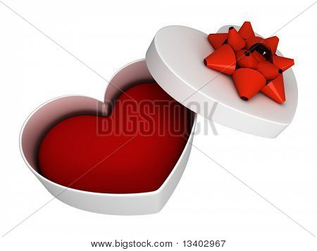 White gift as heart open with ribbon