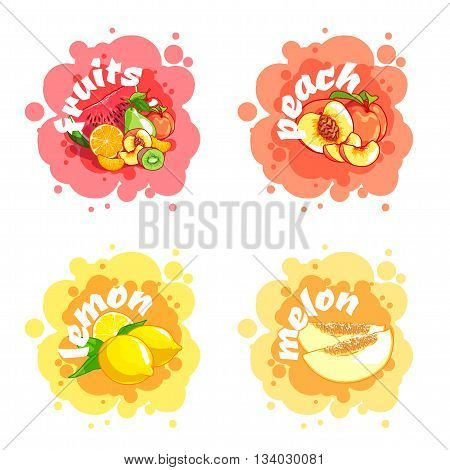 Four stickers with different fruits. Peach lemon melon etc. Vector cartoon illustration isolated on a white background.