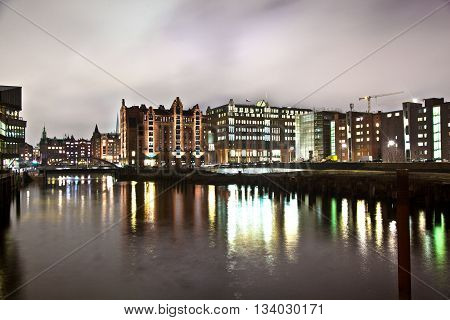 Speicherstadt At Night In Hamburg