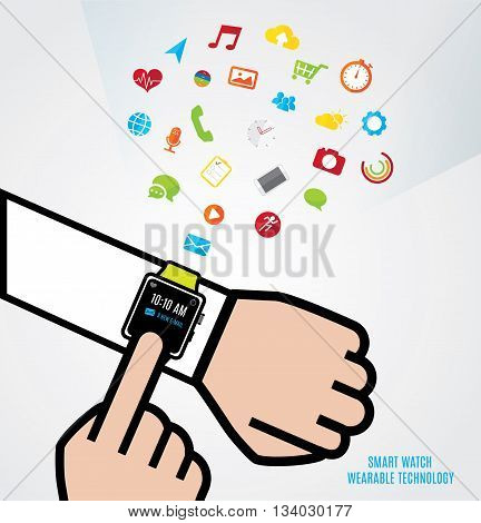Vector : Hand With Smart Watch And Other Hand Touch The Watch And Smart Watch Function Icons Floatin