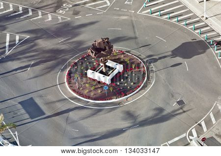 ARRECIFE, SPAIN - JUNE 3, 2011: roundabout with sculpture of old cars