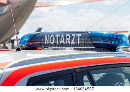 blue light bar on a german emergency car
