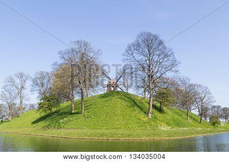 Photograph of the windmill in the Kastellet fortress in Copenhagen, Denmark.