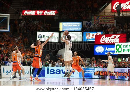 VALENCIA, SPAIN - JUNE 9th: Llull with ball during 4th playoff match between Valencia Basket and Real Madrid at Fonteta Stadium on June 9, 2016 in Valencia, Spain