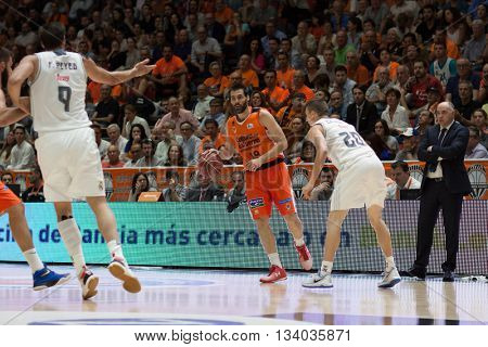 VALENCIA, SPAIN - JUNE 9th: San Emeterio wuth ball during 4th playoff match between Valencia Basket and Real Madrid at Fonteta Stadium on June 9, 2016 in Valencia, Spain