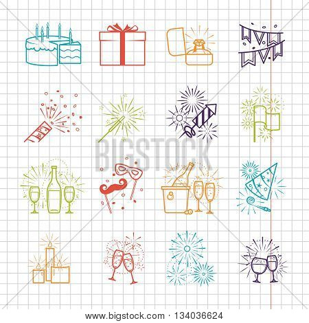 Celebration line icons set with drinks and garland, fireworks and cake on notebook page vector illustration