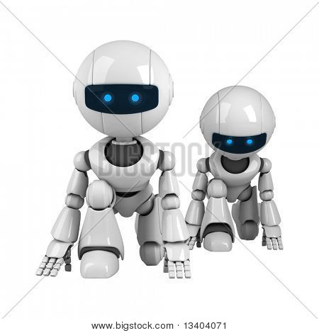 Two funny white robots getting ready